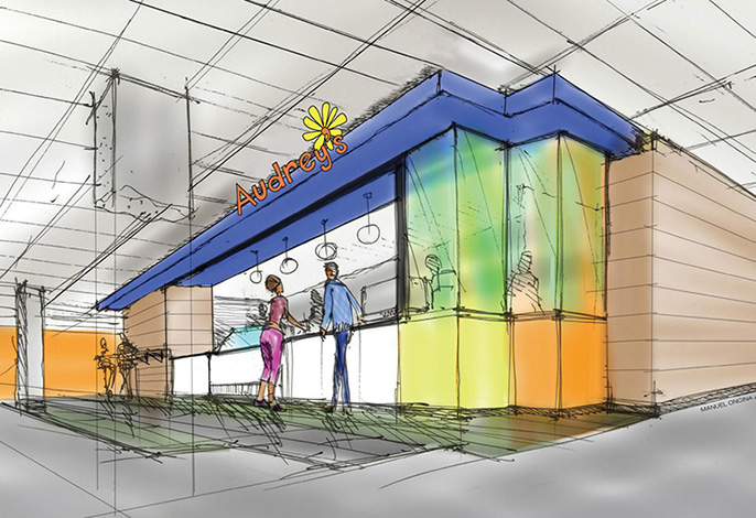 A drawing of the café space.